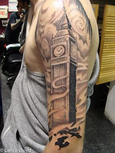 Big Ben Clock Tower by Professional Tattoo Artist :           Lance Lloyd. He is now booking appointments at Royal Flesh Tattoo and Body Piercing 4005 N Broadway St Chicago, IL 60613 (773) 975-9753 www.royalfleshtattoo.com
