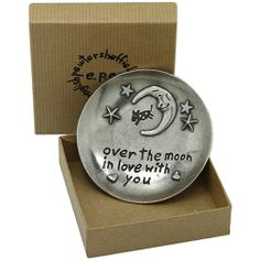 Over the Moon Pewter Tinket Dish :: Lovingly handmade in the UK by expert craftsman - Fast UK Shipment. Personalized Valentine's Day Gifts, Engraved Gifts, Unique Valentines Day Gifts, Over The Moon, Pewter, Birthday Gifts, Dish, Handmade, Search