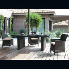 Tavolo scuro da giardino in vetro temperato e resina intrecciata L 200 cm MOD.BALI