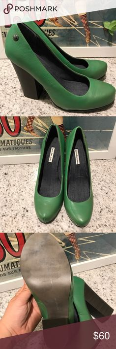 Calvin Klein green leather pumps. These are is perfect condition. I purchased them from another posher but they are too big. I thought I could make them work but I couldn't. I never used them ☹️. Calvin Klein Shoes Heels
