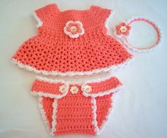 """Sweet Coraline"" Crocheted Dress with matching Diaper Cover and  Flower Headband"