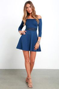 We think you will agree that the Yes to the Mesh Denim Blue Skater Dress will be worth a night out (or two)! Elastic off-the-shoulder neckline introduces fitted half sleeves alongside a darted bodice. Bands of sheer mesh accent the waist while a skater skirt creates a fantastic finish below. Hidden side zipper.