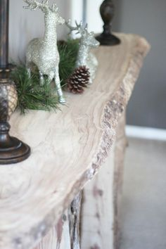 Rustic wood entryway table.