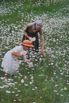 "Tasha_Tudor_daisies. Character inspiration. I asked momma why we were spending time picking daisies when we had just spent a whole back-breaking day picking cotton and she said,  ""Sweetie, to remember there is still beauty in this life."""