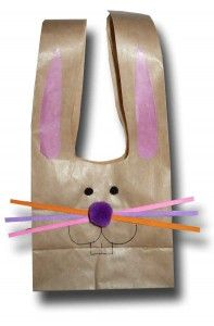Cute little Easter Bunny made from brown paper bag.