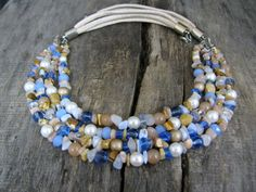 Multi Strands Gemstones Necklace Pastels Color Statement