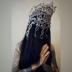 .. forgive me father because I have sinned. my new silver crown!  #agnieszkaosipa #crown #headpiece #headgear #silver #jewellery #embroidery #ornaments #pearls #crystals #beads #handmade #madonna #diamond #white #tattoo #slavic #darkness #dark #longhair #costume #design