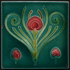 Art Nouveau Majolica Tile T & R Boote c.1905