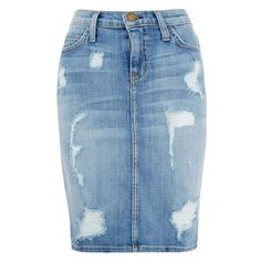 Current/Elliott Blue The Stiletto Pencil Distressed Denim Skirt ❤ liked on Polyvore featuring skirts, knee length skirts, current elliott skirt, knee high skirts, blue skirt and distressed denim skirt