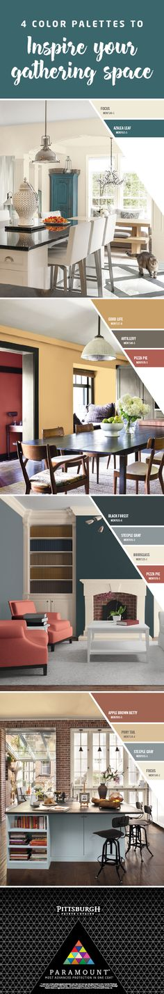 Paint Colors Perfect for Gathering Spaces | Our Gather Paint Color Collection has been expertly selected to work together to infuse gathering spaces with a sense of joy and energetic purpose. Click to explore these paint colors by Pittsburgh Paints & Stains Paramount™!