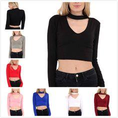 New Women Long Sleeve Crop Top Chocker Neck Ladies Crop Top Shirt