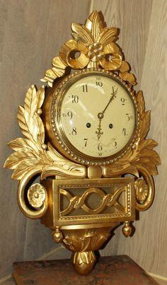 Antique Giltwood Swiss Wall Clock | Mantel/Wall | Inessa Stewart's Antiques