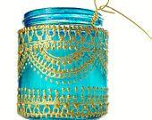 Aqua Mason Jar Lantern with Moroccan Styled Copper Detailing. $28.00, via Etsy.