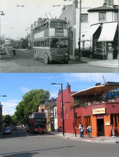 Taken roughly from the same spot as pic 195, these shots show the corner of Chalk Farm Road and a clear view down Ferdinand Street, from where the trolleybus has come and is about to turn left to make it's way over the Grand Union Canal bridge and on to Camden Town shopping centre. The little parade of shops on the right in Ferdinand Street are still there, although the corner building has been greatly altered. Trees obscure the view now, but walking up Ferdinand Street, it's clear th...