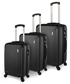 TravelCross Luggage 3 Piece ABS Spinner Set w TSA lock and Global Tracking System  Black *** Read more  at the image link.