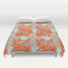 #Orange and #blue #floral #pattern #duvet #cover #society6 #heaven7 Worldwide Shipping + 15% Off New Carry-All Pouches