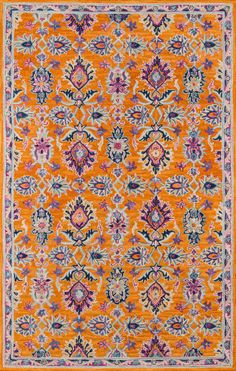The Lola area rug is a orange, hand tufted traditional & oriental rug. Made of Wool By Wovenly Rugs. Light Blue Area Rug, Orange Area Rug, Orange Rugs, Orange Pink, Beige Area Rugs, Wool Area Rugs, Hand Tufted Rugs, Persian Carpet, Persian Rug