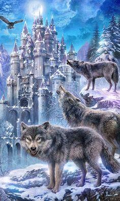 Серые волки,зима,замок,ночь