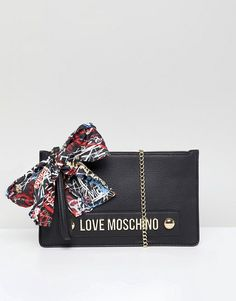6f4d5ea77f Love Moschino Stud Logo Clutch with Chain Strap