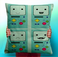 Adventure Time BMO Beemo Faces  Cushion / by ThisShopReallyRocks, £5.00