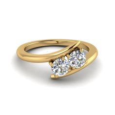 2 Stone Crossover Two Stone Rings with Diamonds in 18K Yellow Gold exclusively styled by Fascinating Diamonds