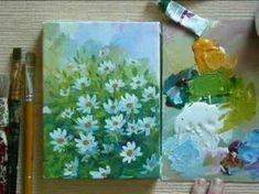 acryl painting tutorial daisies