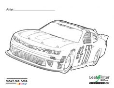 Is your child a fan of NASCAR (or fast cars in general)? Print out this coloring page and let them go wild with their imagination for a chance to win a LeafFilter Racing/Blake Koch diecast car! | LeafFilter Racing Chevy Coloring Contest