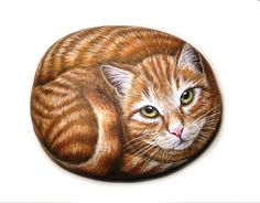 Hand painted cat stone !  A great Gift Idea for your friends!    Is painted on a smooth sea stone which i have collected from a beach on the Greek