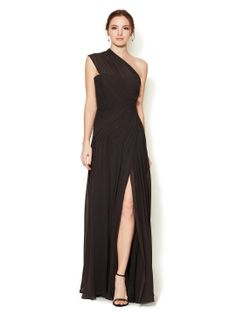 Silk Chiffon Pleated One Shoulder Gown by Monique Lhuillier at Gilt