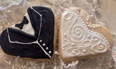 Bride and Groom Wedding Cookie Favors  by CrowsCustomCookies