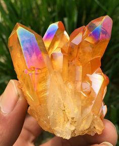 Orange rainbow titanium aura quartz crystal cluster joyful being