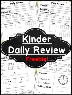 Morning Work for Kindergarten Free