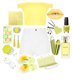 """""""yellow"""" by rileybutterfield ❤ liked on Polyvore featuring Boohoo, River Island, M2Malletier, Ermanno Scervino, Casetify, Sandy Hyun, BaubleBar, OPI, Lime Crime and Estée Lauder"""