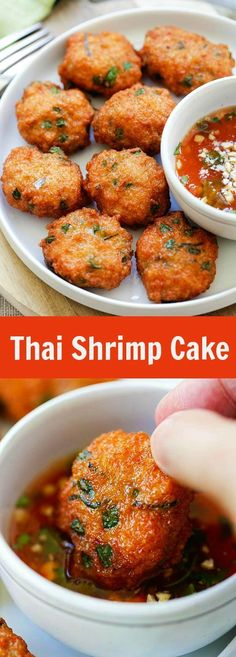 Thai Shrimp Cake – Thai shrimp cake recipe loaded with shrimp, red curry, long beans and served with sweet chili sauce. Thai Recipes, Fish Recipes, Seafood Recipes, Asian Recipes, Appetizer Recipes, Cooking Recipes, Thai Appetizer, Cake Recipes, Asian Appetizers