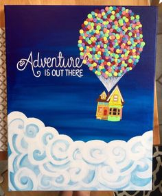 "Adventure is Out There, Pixar's ""Up!"" Painting - - Adventure is Out There, Pixar's ""Up!"" Painting DIY Ideen Das Abenteuer ist da draußen Pixar's Up Painting von auf Etsy Disney Canvas Paintings, Disney Canvas Art, Cute Paintings, Easy Canvas Painting, Diy Painting, Painting & Drawing, Acrylic Canvas, Painting Lessons, Disney Art Diy"