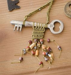 Inspired by her collections from around the globe, Cooky Schock weaves intricate patterns using micro-macramé onto vintage keys inside the latest Belle Armoire Jewelry.
