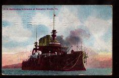 1907 us battleship nebraska navy military ship hampton roads virginia postcard
