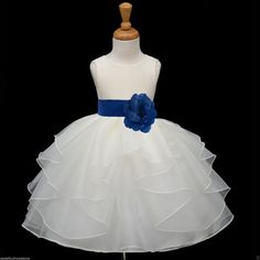 IVORY/  navy blue(picture)/ Organza flower girl dress more than 20 sash and flower colors bridemaid pageant wedding elegant girl 4613T