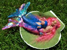 OOAK Mermaid Sisters Child And Baby Pink Blue Merbabies Hand Sculpted Polymer Clay