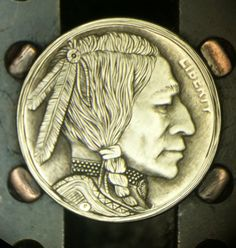 """Hobo Nickel by DeChristo """"A Brave Haircut"""" American Coins, Native American, Brave, Indian Skull, Indian Theme, Hobo Nickel, Metal Clay Jewelry, Bo Gum, Coin Collecting"""