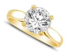 1.75 Ct Round Cut Solitaire Engagement Wedding Ring Solid 14K Yellow Gold