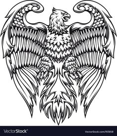 Illustration of Powerful eagle or griffin in heraldic style vector art, clipart and stock vectors. Animal Coloring Pages, Adult Coloring, Colouring, Coloring Books, Greif Tattoo, Aquarell Phönix Tattoo, Vector Graphics, Vector Art, Eps Vector