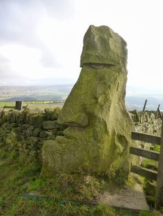 carved stone head , Yorkshire, England