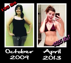 Looking for weight loss, fitness, dedication, and inspiration motivation? My before and after transformation: October 2009 at 195 pounds to today, April 26 2013 at 125 pounds. Woohoo! I feel awesome =D
