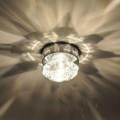 Amzdeal plafonnier led en cristal, lampe design de rose, 20W lumière blanche pour Chambre Couloir