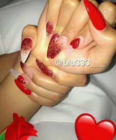We all want beautiful but trendy nails, right? Here's a look at some beautiful nude nail art. Red Nails, Love Nails, How To Do Nails, Red Glitter Nails, Red Stiletto Nails, Coffin Nails, Gorgeous Nails, Pretty Nails, Acrylic Nail Designs