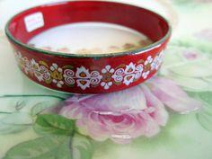 Vintage Made in Austria Enamel Child Bangle Bracelet Red & White Design by Holliezhobbiez on Etsy