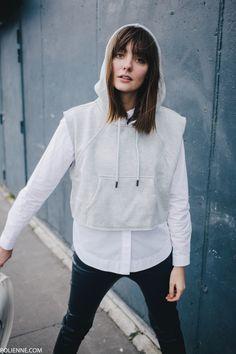 POLIENNE   wearing a Stella McCartney x Adidas hoodie, Boss Orange leather pants & Whistles sneakers