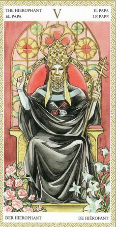 The Hierophant, from the Lo Scarabeo Tarot by Mark McElroy and Anna Lazzarini. https://lifeofhimm.wordpress.com/2015/03/02/your-week-in-tarot-week-ending-march-8-2015/