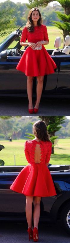 Red Homecoming Dresses,backless Prom Dresses,Sexy Cocktail Dress,Simple Party Dress,Summer lace Dresses
